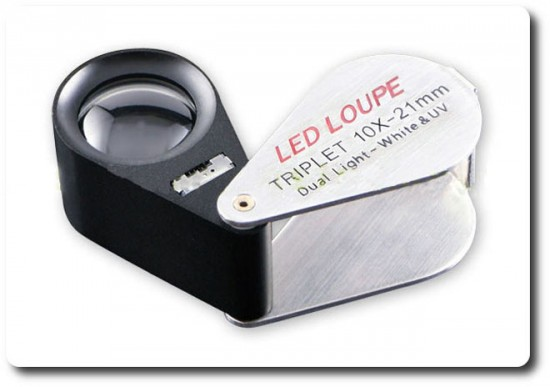 Loupe pliable Triplet 10x avec Lumière + UV 21mm- Lens