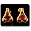 BOUCLES D'OREILLE RUBIS 2x7 mm Plaqué Or 18 K