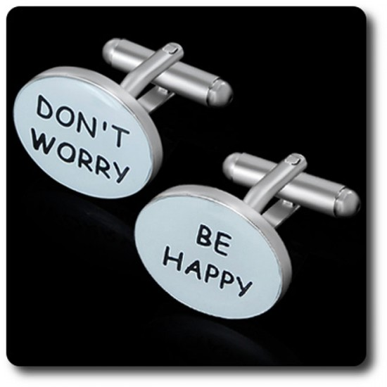 "BOUTONS DE MANCHETTES "" DONT WORRY BE HAPPY """