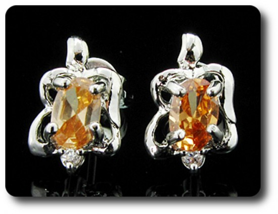 BOUCLES D'OREILLE SAPHIR ORANGE 2x7 mm Plaqué Or blanc 18 K