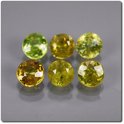 1.53 cts LOT DE 6 SPHENE MULTICOLORE. SI1-I1 Madagascar