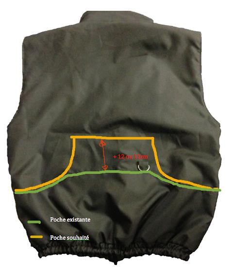 Option grande poche au dos + 12 cm