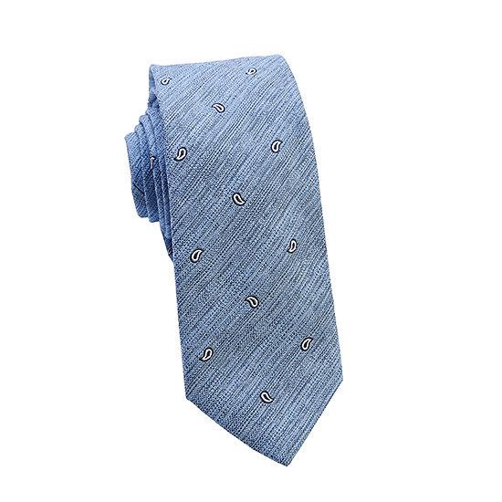 Cravate tissée ciel, motifs paisley