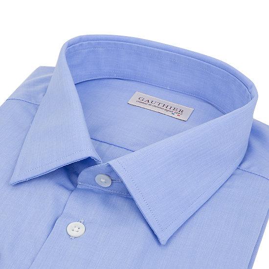 Chemise bleue en fil à fil - Col français