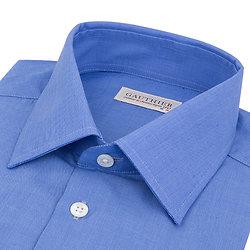Chemise bleu dur en fil à fil - Col français
