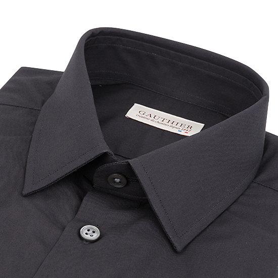 Chemise noire en popeline - Petit col français