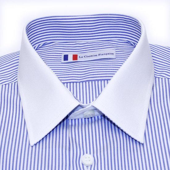 Chemise col blanc à rayures bleues