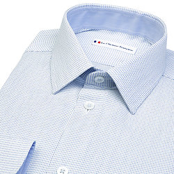 Chemise nattée blanc / bleu