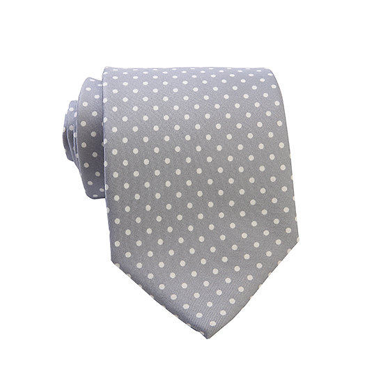 Cravate argent - pois blanc