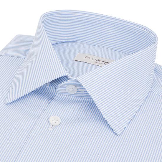 Chemise blanche rayures ciel - Col français