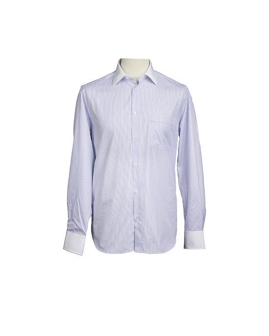 Chemise col blanc à rayures ciel