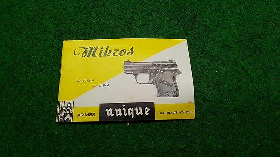 Notice pistolet MIKROS 6.35 manuel d utilisation