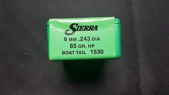 Ogives SIERRA 6mm (243) 85Gr HP BT 1530
