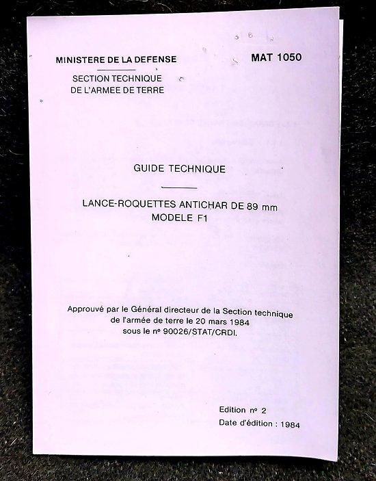 Guide technique Lance roquettes antichar F1 89 mm