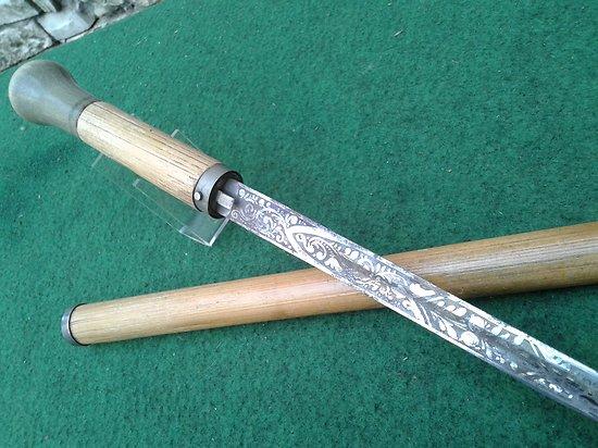 canne épée a lame gravée