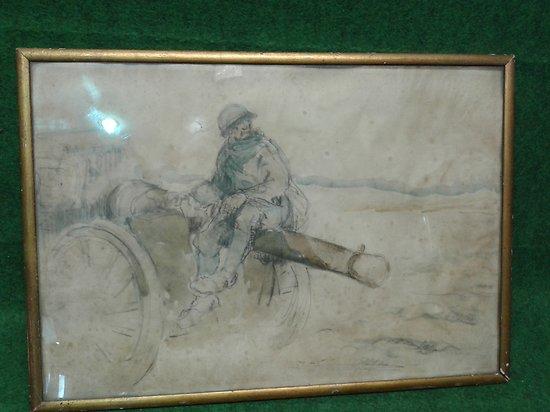 WW1 Aquarelle soldat français sur canon de 75 de campagne