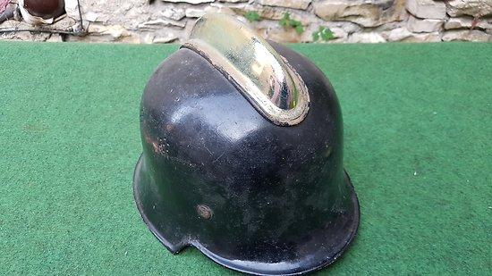 WW2 casque allemand modele M34 polizei / pompier alu double insignes