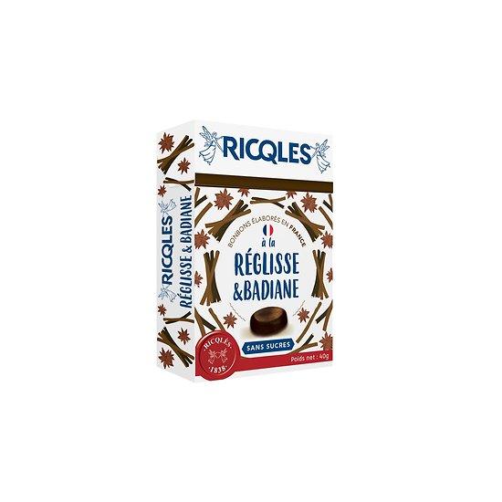 Ricqlès - Bonbons Sans Sucres - Réglisse & Badiane
