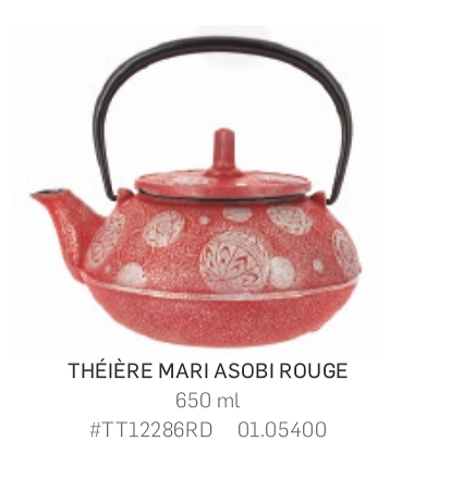 Théière Iwachu en fonte - 650ml - rouge/argent