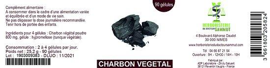 Gélules charbon végétal - herboristerie du Dr. SAMMUT - 90 gélules