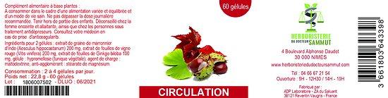 Gélules circulation - herboristerie du Dr. SAMMUT - 60 gélules