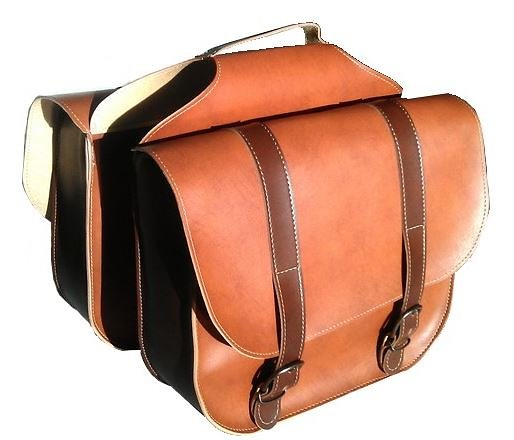 Paire de sacoches simili cuir pour porte bagage vélo
