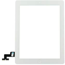 Touch Screen Digitizer iPad 2 White + Stickers + Home Button Assembly