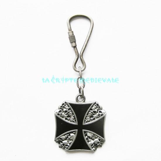 Porte clés Croix Templier et Crânes/Gothique/Bikers