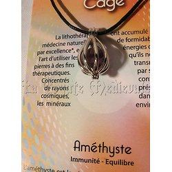 PENDENTIF CAGE/LITHOTHERAPIE/AMETHYSTE