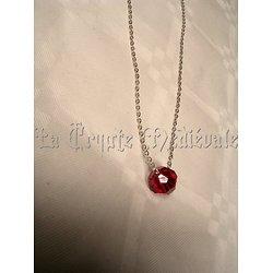 collier sphère cristal Swarovski/Rouge