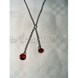 Pendentif double cristal Swarovski/Rouge