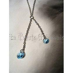 Pendentif double cristal Swarovski/Bleu