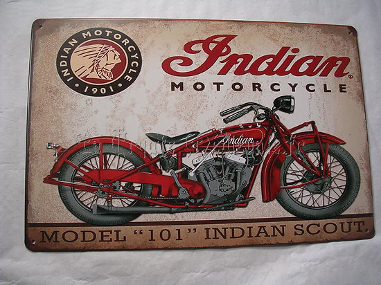 PLAQUE METAL MOTO INDIAN SCOUT/BIKERS