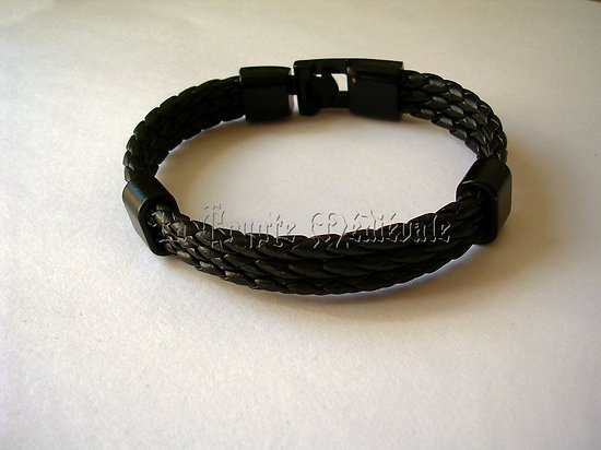 BRACELET ROCK CUIR METAL