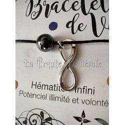 BRACELET DE VIE HEMATITE- SIGNE DE L'INFINI
