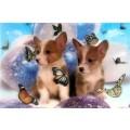 Poster relief 3D/petits chiens et papillons
