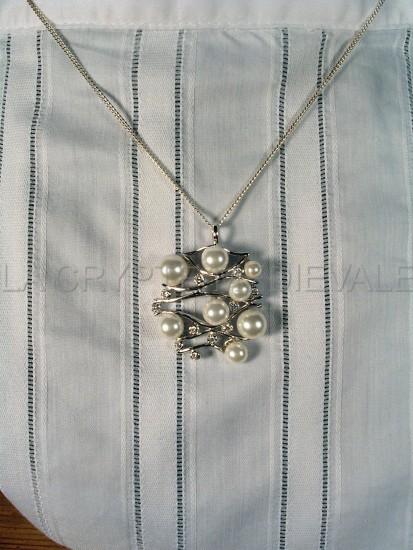 Collier argent 935, perles et cristaux CZ