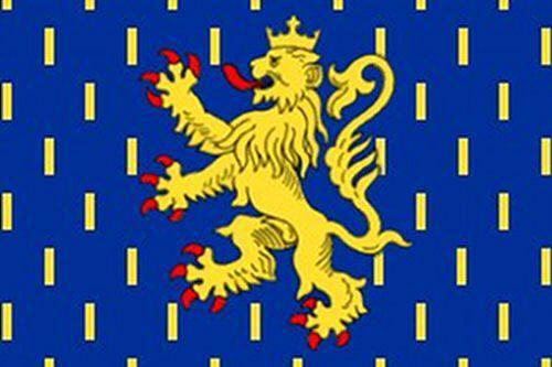 Drapeau de Franche Comté/150cmsur 90cm/MEDIEVAL   Drapeau  en polyester lavable à la main. Dimensions:150 sur 90cm Le drapeau est imprimé ses 2 côtés, les bords sont doubles et les coutures renforcées