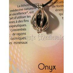 PENDENTIF CAGE/LITHOTHERAPIE/ONYX
