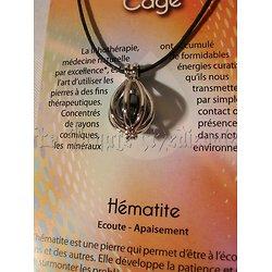 PENDENTIF CAGE/LITHOTHERAPIE/HEMATITE