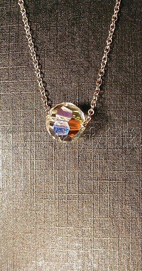 collier sphère cristal Swarovski/Blanc