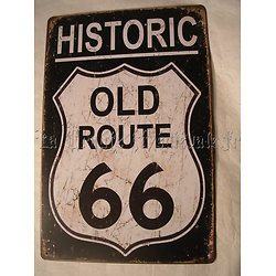 PLAQUE METAL ROUTE 66/BIKERS