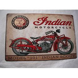 PLAQUE METAL MOTO INDIAN SCOUT/BIKERS