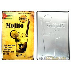 PLAQUE METAL MOJITO RELIEF/DRINK CUBA