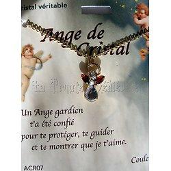 PENDENTIF ANGE GARDIEN CRISTAL/JUIN/RUBIS AVEC CHAINE