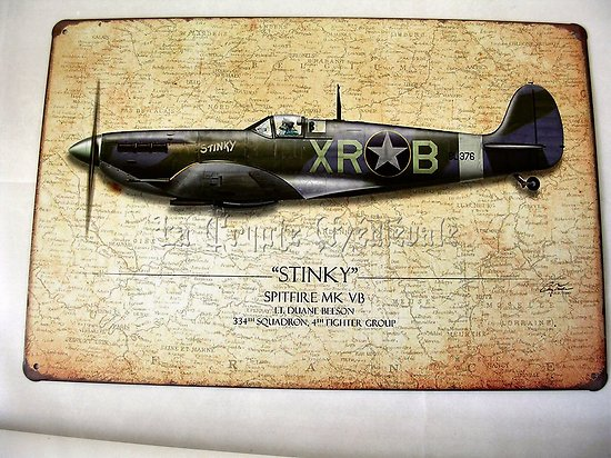 PLAQUE METAL AVION SPITFIRE MK VB STINKY