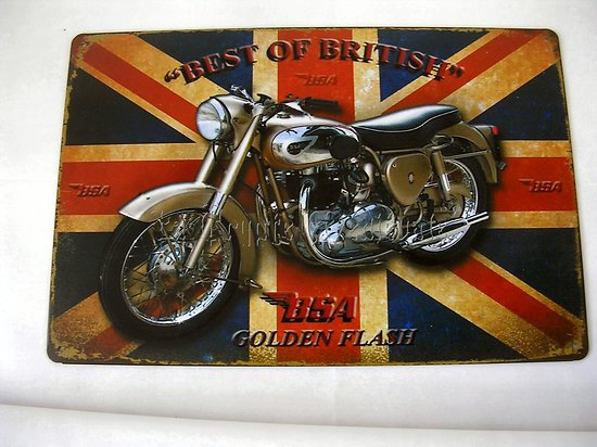 PLAQUE METAL BSA GOLDEN FLASH/BIKER