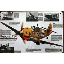 PLAQUE METAL AVION MESSERSCHMITT BF109/ME 109