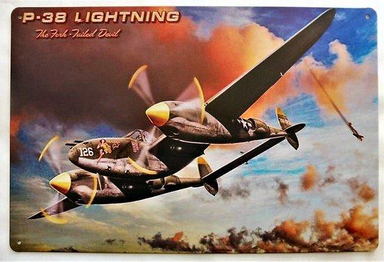PLAQUE METAL AVION Lockheed P-38 Lightning