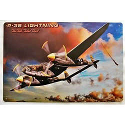 PLAQUE METAL AVION Lockheed P-38 Lightning